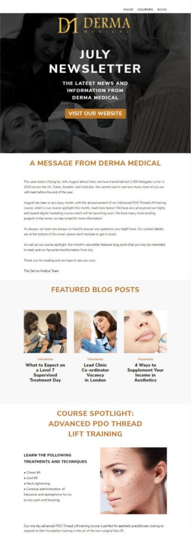 Derma Training Email Campaign