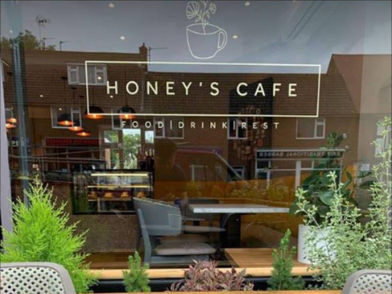 Honey's Cafe Logo Window
